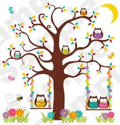Owl Tree Branch Pink Kids Baby Girl Room Nursery Wall Mural Sticker Decals Decor | eBay