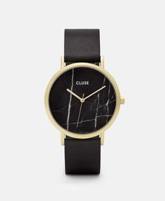 La Roche Gold Black Marble/Black -- Designed as a tribute to one's uniqueness, this CLUSE La Roche watch features a genuine black marble dial, produced from a raw stone. Every piece of marble is one of a kind with a natural veining pattern, which makes ea Marble Jewelry, Black Gold Jewelry, Gold Jewellery, Rose Jewelry, Leather Jewelry, Cool Watches, Watches For Men, Popular Watches, Ladies Watches