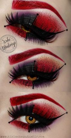 Inspired eye makeup from Batman's Harley Quinn... This is really crazy but awesome! I don't think I like the red eyebrow but the shadow is amazing.