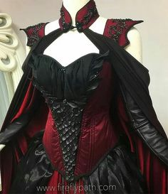 Crimson Moon Dragon Gown We are almost finished with our customer's gown~ We can't wait for our fitting with her! Medieval Fashion, Medieval Dress, Gothic Fashion, Vampire Fashion, Renaissance Dresses, Skull Fashion, Fashion Fashion, Vampire Dress, Gothic Mode