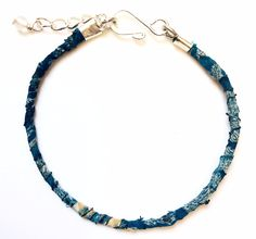 Recycled Sari Knotted Bracelet-Light Blue