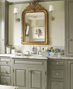 Ragland Hill Social--gorgeous mirror, wall lamps, marble counter top