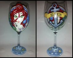Little mermaid hand painted wine glass. Princess pin up