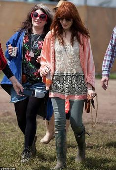 Florence Welch working the boho chic festival look at Glastonbury