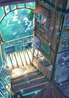 Change of Scenery Pt. 2 Change of Scenery Pt. Anime Expo, Anime Art, Digital Art Anime, Anime Pokemon, Casa Anime, Fantasy Places, Anime Kunst, Wow Art, Fantasy Landscape