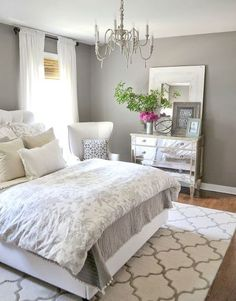 master bedroom decorating ideas INCREDIBLY BEAUTIFUL!!  THE SHADE OF GREY IS SO SOFT AND PRETTY MAKING THE ROOM FEEL VERY RESTFUL!!
