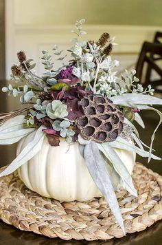 Fall Craft Night Ideas - unOriginal Mom - Getting Crafty, Pumpkin Floral Arrangements, Fall Arrangements, Halloween Flower Arrangements, Girls Night Crafts, Craft Night, Pumpkin Centerpieces, Floral Centerpieces, Thanksgiving Centerpieces, Thanksgiving Table