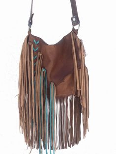 cc453b8f9f Details about Western Native Cross Body Turquoise Leather Handbag Purse w   Fringe Hippie SS4