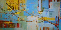 """""""Blue Aviary"""" par René Wiley Gallery Oil ~ 20 x 40"""
