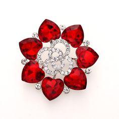 Rhinestone Ruby Red Wedding Brooch Crystal Red by Crystalitzy