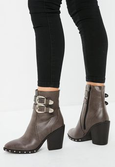 Ankle boots in a brown hue with etched buckle detail and western style. Missguided, Fashion Boots, Shop Now, Ankle Boots, Footwear, Brand New, Pairs, Brown, Heels