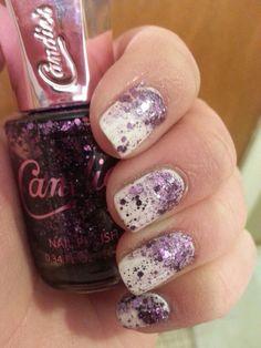 White nail polish with glitter