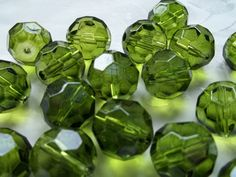 Green Glass Beads 20mm Round Faceted Czech Fire Polished Crystal 5 Pieces #558