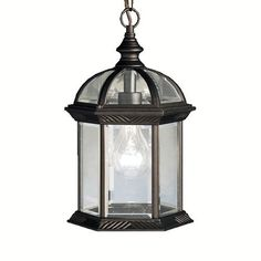 Kichler 1 Light Outdoor Pendant from the Barrie Collection - Black