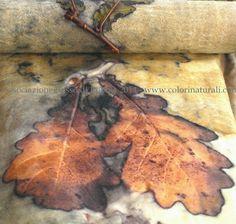 oak leaves printed on wool