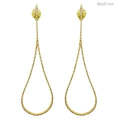 Solid 18k Yellow Gold 1.7ct Pave Natural Diamond Dangle Earrings Fine Jewelry BB #Handmade