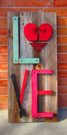 February/Valentines Day reclaimed wood porch sign