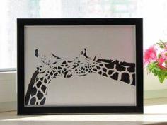 In+love+Giraffe+Handmade+Original+Papercut+First+by+DreamPapercut,+$45.00
