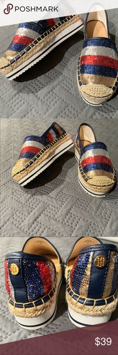 05a2cdb89eda Tommy Hilfiger sequined espadrilles Never worn! Super cute red white and  blue sequined shoes with an espadrille heel Tommy Hilfiger logo on back  Tommy ...