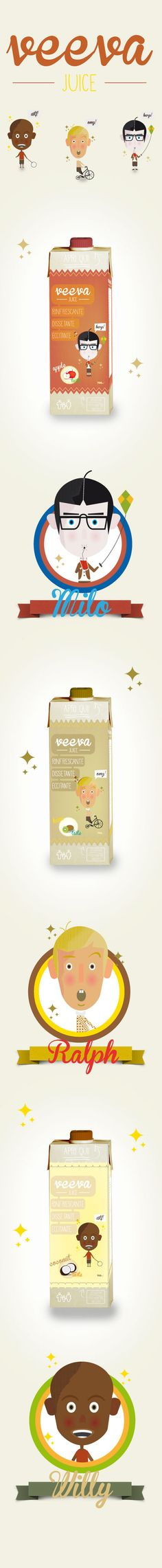 """Veeva juice is a brand purely invented!...I created this project thinking about to fruit juices with an original logo, graphic and packaging.  My inspiration is based on typical commercials of 60's, and I illustrated 3 topics, one for each taste, with a very retro style, giving the idea of the most famous tv show """"Our Gang"""" of 30's projected to the present day."""
