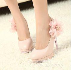 Sweet Pink Platform Upper Stiletto Heel Closed-toes Wedding Bridal Shoes: dressbuying.com
