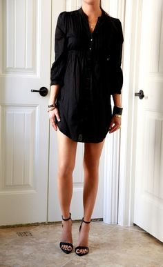 black shirt dress. effortless