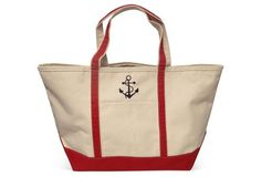 For Mike & Cindy $29 Large Anchor Boat Tote, Red/Natural