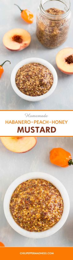 Homemade Habanero-Peach-Honey Mustard - Make your own homemade sweet and spicy mustard at home with this recipe, with fruity habanero peppers, sweet peach and honey. Homemade mustard is the only way to go.