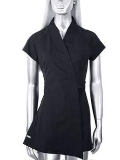 Black leopard zipper apron salon capes wear stylist for Spa uniform patterns
