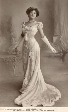 Miss Isabel Jay as 'Princess Marie' - 1909 - The King of Cadonia - Ermine trim Gown - Prince of Wales' Theatre