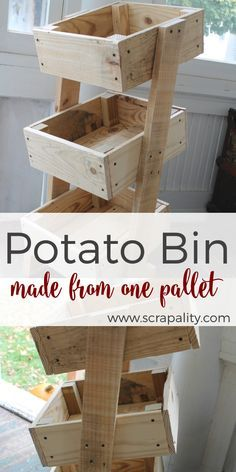 Wow, this gal is has super DIY skills. Take a look at this Potato Bin Made from One Pallet. Awesome. Over at Scrapality.  #palets #reciclar #palletart