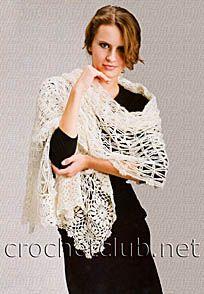 Белый вязаный палантин - Вязание Крючком. Блог Настика. Схемы, узоры, уроки бесплатно