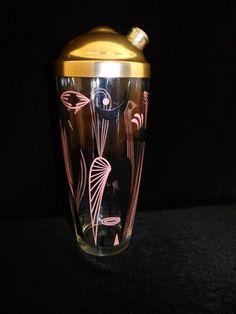 Vintage Retro 1950s Dyball Pink Black Glass Birds Cocktail Martini Shaker