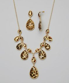 Look what I found on #zulily! Gold & Leopard Necklace & Drop Earrings #zulilyfinds