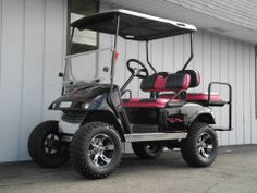 One of the custom golf cars that we finished up this week is this black E-Z-GO that is loaded with custom touches, including these amazing hand-painted pink pinstripes, aluminum diamond plate trim, two-tone seat covers, carbon dash, sport steering wheel, deluxe lights, Line-X coated hard top, and much more! Got a custom golf car in your plans? Let our team build your ultimate golf car! http://www.powerequipmentsolutions.com/ — at Power Equipment Solutions, LLC.