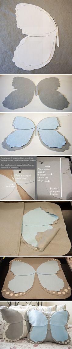 Cojines mariposas DIY • Butterfly pillows via www.fabyoubliss.com