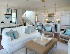 Neutrals + Turquoise via House of Turquoise. thought you might like your dream home to look like this. Beach Living Room, Cottage Living Rooms, Home Living Room, Cottage House, House Of Turquoise, Luxury Interior Design, Interior Exterior, Coastal Interior, Interior Paint