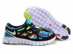 hot sale online 7e9ae 7914e Blue Glow White Black Volt Nike Free Run 2 Men s Running Shoes