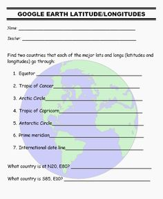 Longitude and latitude activity
