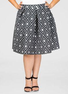 Plus Size Neoprene Box Pleat Skirt