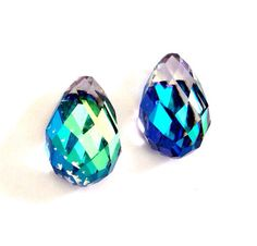 2 Vintage 15x10mm Swarovski Crystal Bermuda Blue Pears / Tear Drops, Art. 4872 via Etsy