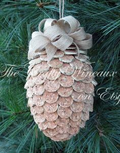 Large Wine Cork Pine Cone Christmas Ornament, Pineapple Ornament - Recycled Wine Corks, Twine H bottle crafts pineapple Large Wine Cork Pine Cone Christmas Ornament, Pineapple Ornaments - Recycled Wine Corks, Twine Hung with Burlap Ribbon Wine Craft, Wine Cork Crafts, Wine Bottle Crafts, Wine Cork Ornaments, Christmas Ornaments, Christmas Christmas, Pineapple Ornament, Wine Cork Art, Wine Cork Trivet