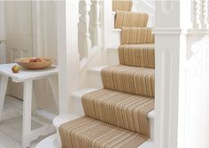 white painted stairs beige runner | stair runners