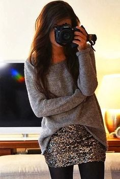 Cozy sweater with sequin mini skirt and leggings | Glamrous fashion