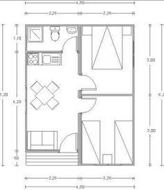 Plano de casa prefabricada 2 dormitorios y 30 m2
