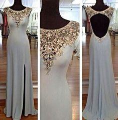 Open Back Slit Side Long Prom Dress PDS0419