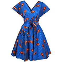 Panier African Dresses For Women, African Women, Afro, African Print Jumpsuit, Style Africain, African Dashiki, Blue Party, Casual Summer Dresses, V Neck Dress