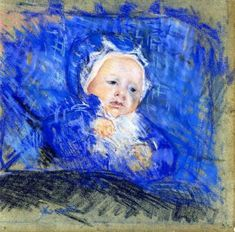 Child on a Blue Cushion - Mary Cassatt, 1881 pastel drawing on paper Mary Cassatt, Edgar Degas, Pastel Drawing, Painting & Drawing, Berthe Morisot, Art Through The Ages, Drawing Studies, Blue Cushions, Post Impressionism