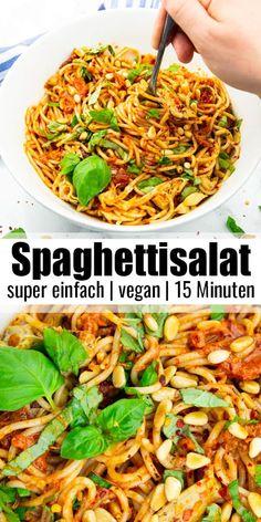 Dieser Spaghettisalat mit getrockneten Tomaten, Artischocken und frischem Basilikum könnte nicht einfacher sein. Er ist fertig in nur 15 Minuten und einfach perfekt als Grillbeilage für den Sommer!Mehr vegane Rezepte findet ihr auf veganheaven.de! #vegan #vegetarisch