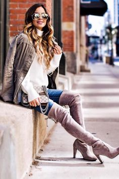 #outfits #fall #fashion White Blouse // Velvet Over The Knee Boots // Skinny Jeans // Camel Jacket